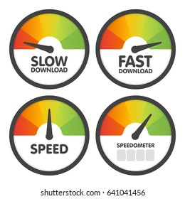 Round Speedometers set with slow and fast speed download. Vector illustration.