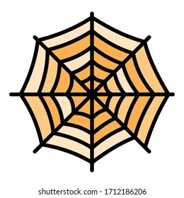 Round spider web icon. Outline round spider web vector icon for web design isolated on white background