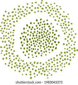 Round spot inside loop, consisting of many dots. Sample of sloppy handwriting. Abstract circular green specks. Flat points filling the space of patterns, internet templates. Modern design assets.