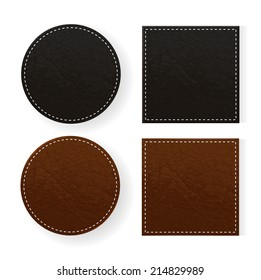 Round and square leather table coasters isolated on white background, vector illustration