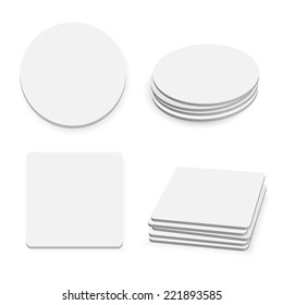 Round and square table coasters isolated on white background, vector illustration