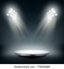 Round Stage Illuminated By Spotlights Podium. EPS10 Vector
