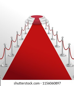Round stage podium illuminated with light. Stage vector backdrop. Festive podium scene with red carpet for award ceremony. Vector illustration