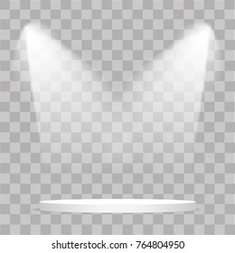 Round stage podium illuminated with light on transparent background. Stage vector backdrop. Festive podium scene with red carpet for award ceremony. Vector illustration