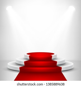 Round stage podium with light. Stage vector backdrop. Festive podium scene with red carpet for award ceremony. Vector illustration.