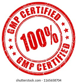 Round stamp 100 gmp certified on white background