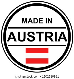 round stamp with text Made in Austria and country flag