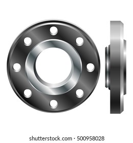 Round steel flange. Realistic pipeline details isolated on white background. Realistic flange in two projections.