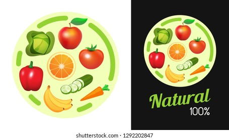 Round sticker with Fruit and Vegetables. Design element of Signboard banner with natural vegan food for shop. Illustration isolated on white and black color.