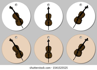 Round stickers template with cello. Isolated vector illustration with musician on white background