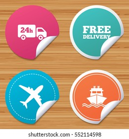 Round stickers or website banners. Cargo truck and shipping icons. Shipping and free delivery signs. Transport symbols. 24h service. Circle badges with bended corner. Vector