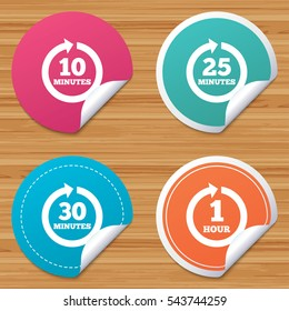 Round stickers or website banners. Every 10, 25, 30 minutes and 1 hour icons. Full rotation arrow symbols. Iterative process signs. Circle badges with bended corner. Vector