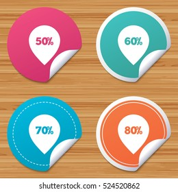 Round stickers or website banners. Sale pointer tag icons. Discount special offer symbols. 50%, 60%, 70% and 80% percent discount signs. Circle badges with bended corner. Vector