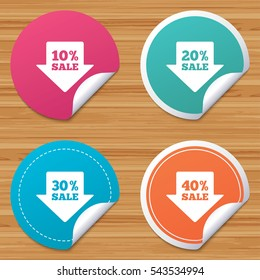 Round stickers or website banners. Sale arrow tag icons. Discount special offer symbols. 10%, 20%, 30% and 40% percent sale signs. Circle badges with bended corner. Vector