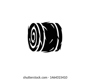 Round straw bale vector isolated flat illustration. Round straw bale icon