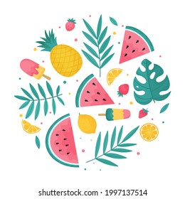 Round summer composition of tropical leaves, summer fruits, watermelons and ice cream.