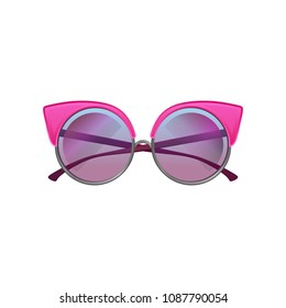 Round sunglasses with pink metal frame and purple gradient lenses. Accessory for stylish women. Flat vector icon of protective glasses