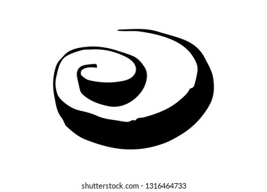 Round swirl symbol, hand painted with ink brush, isolated on white background. Vector illustration.