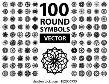 Round symbols set. 100 vector spirographs