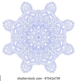 Round symmetrical pattern in blue and white colors. Mandala. Kaleidoscopic design. Sacred geometry. Vector.