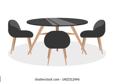 Round table and chair around. Restaurant, cafe or bar interior furniture. Comfortable stool. Isolated vector cartoon illustration