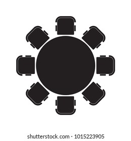 round table and chairs icon- vector illustration