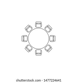 Round table and chairs top view vector icon isolated on white background