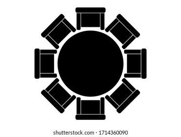 Round table icon with chairs.