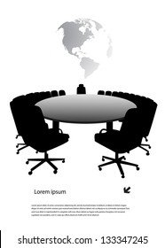round table on the background of the planet