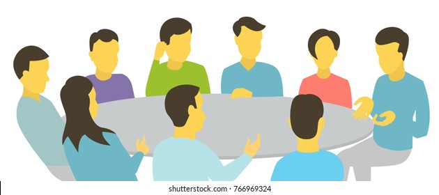 Round table talks. Team business people meeting conference nine people. White background stock illustration vector