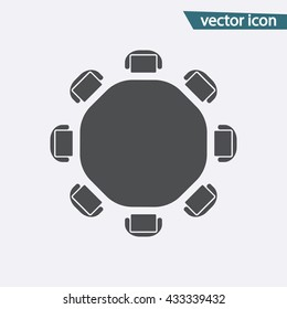 Round table vector. Discussion flat icon isolated. Modern flat pictogram, business,  marketing, internet concept. Trendy Simple vector symbol for web site. Logo illustration.