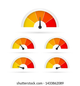 Round temperature gauge, isolated on white background. Colored measuring semicircle scale in flat style. Vector stock illustration.