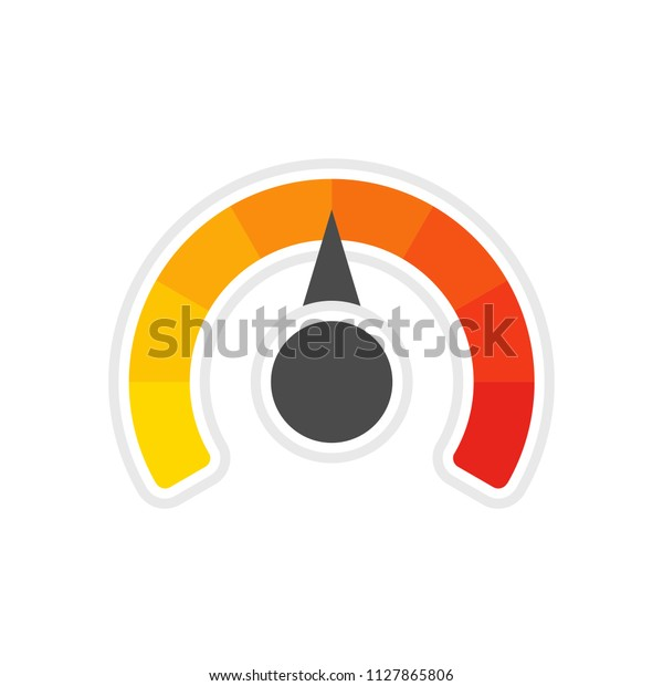 Round temperature gauge, isolated on white background. Colored measuring semicircle scale in flat style. Template of circle barometer or indicator. Vector illustration EPS 10.