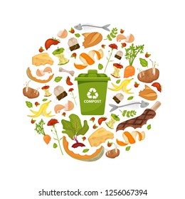 Round template Organic waste theme. Collection of fruits and vegetables. Illustration for home food processing and compost, organic waste, zero waste, environmental problem. Flat icons, vector design