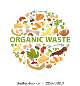 Round template Organic waste theme. Collection of fruits and vegetables. No food wasted. Set of leftovers. Illustration for organic waste, zero waste theme, modern environmental problem. Flat vector