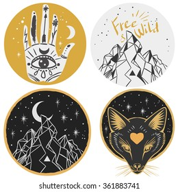 Round templates with mountains, fox head, hand, moon. Vector illustrations in boho style for stickers, t-shirt design and other