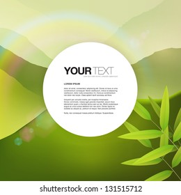 Round text box on nature landscape with mountains, bamboo leaves, lens flares and rainbow. Vector design background Vector design background