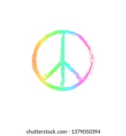 Round textured hippie peace sign for printing.