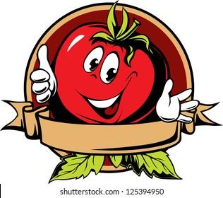 round tomato cartoon label