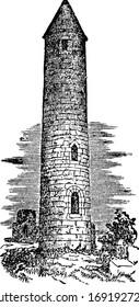 Round Tower, two Irish-style,  vintage engraving.