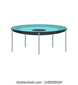 Round trampoline icon. Flat illustration of round trampoline vector icon for web design