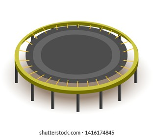 Round trampoline isometric vector illustration. Gym equipment for jumping, bouncing. Healthy lifestyle, active recreation, sport activity. Kids playground attribute, amusement complex item