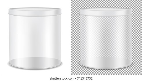 Round transparent glass can for food, cookies and gifts