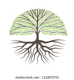 Round Tree With Roots, Can Use as Logo for Your Company