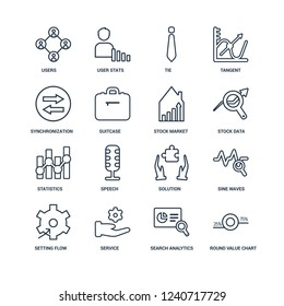 Round Value Chart, Search Analytics, Service, Setting flow interface, Sine Waves Analysis, Users interconnected, Synchronization, Statistics, Stock market outline vector icons from 16 set
