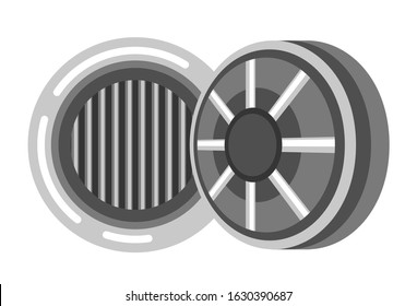 Round vault door, bank safe with bars inside for money storage. Opened security mechanism, solid stainless steel, combination lock system and alarm. Isolated vector illustration on white background.
