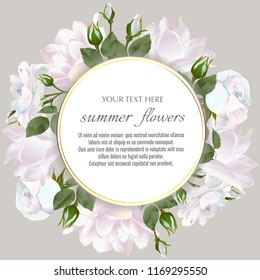 Round Vector banner with Luxurious roses and tulips flowers. Spring or summer design. Template for greeting cards, wedding decorations, invitation, sales. Space for text.