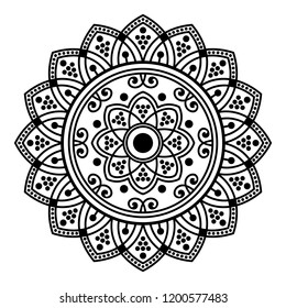 Round vector black and white Mandala for a New Year greeting card. Can be used for phone case print, etc. Islam, Arabic, Pakistan, Moroccan, Turkish, Indian, Spain motifs. Vector illustration EPS10