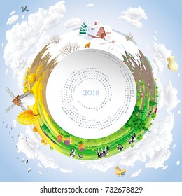 Round vector calendar for 2018 Year  with twirled calendar grid and four seasons rural landscape