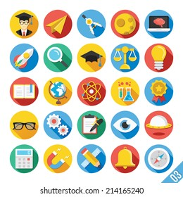 Round vector flat icons set with long shadow for web and mobile apps. Colorful illustrations,elements,objects,concepts of science,school,college education, teaching, etc. Isolated on white background.
